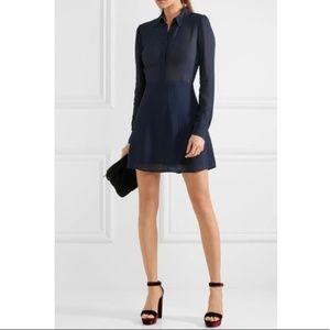 Reformation 'Stella' Collared Navy Mini Dress 0